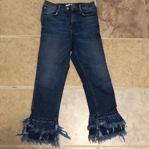 Zara jeans with fringe at ankle